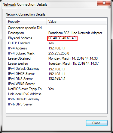 Network Connection Details Property Page